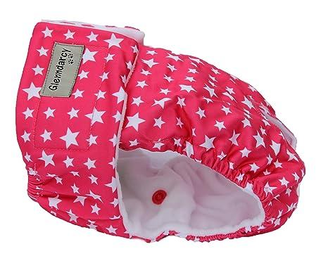 Temporada de perro pañales | calor pañal pantalones | Estrellada Rosa – Tamaño Mediano – lavable