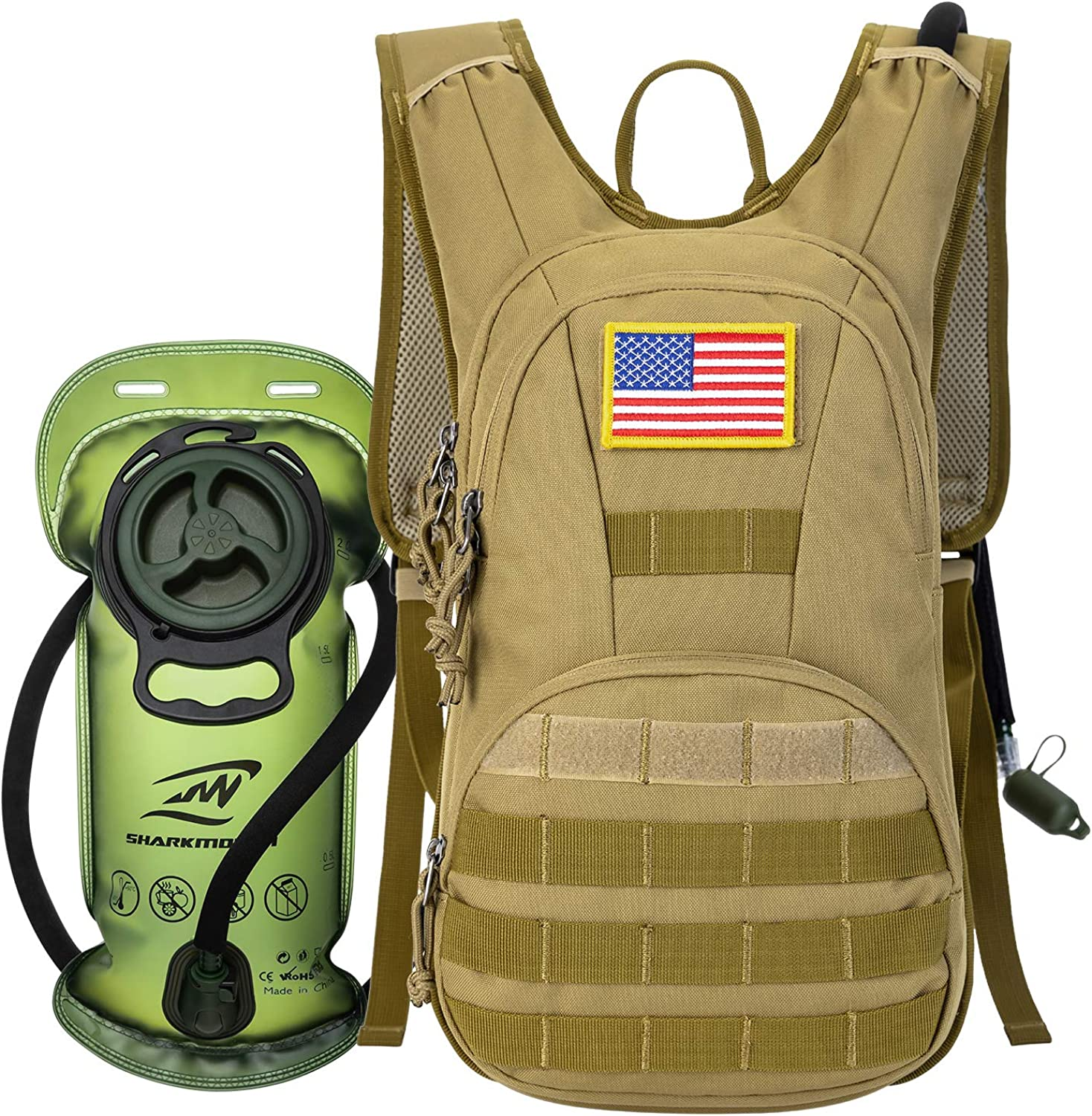 SHARKMOUTH Hydration Pack, Tactical Molle Hydration Pack Backpack 900D with 2L BPA Free Hydration Water Bladder, Military Daypack for Running, Hiking, Cycling, Climbing, Hunting &Working Out
