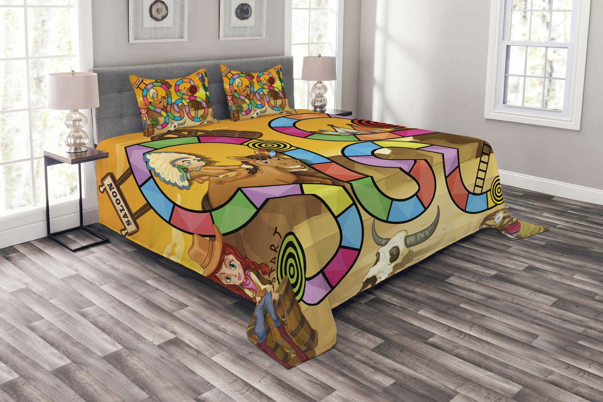 Lunarable Board Game Bedspread Set Queen Size, Wild West Concept Country Landscape Cowgirl America Cactus Childrens Nursery, Decorative Quilted 3 Piece Coverlet Set with 2 Pillow Shams, Multicolor
