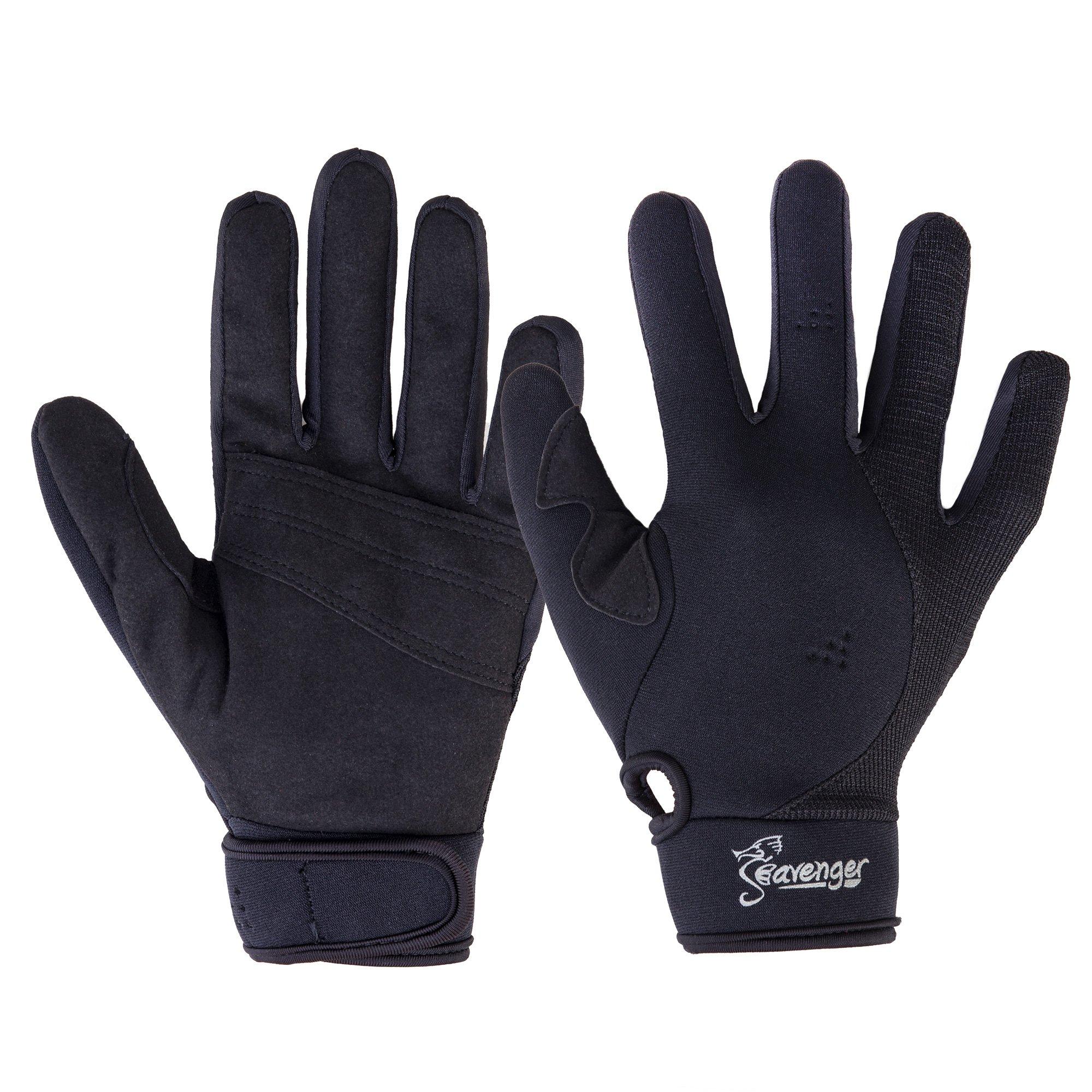 Seavenger Abyss Dive Gloves   1.5mm Neoprene Mesh   Scuba Diving, Wakeboarding, Spearfishing (Black, X-Small) by Seavenger