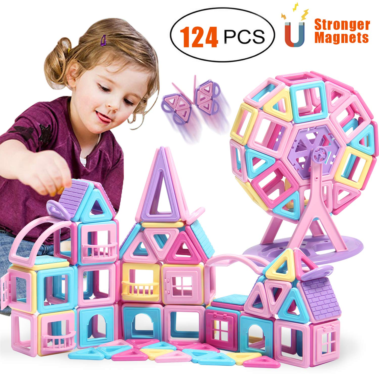 HOMOFY 124PCS Castle Magnetic Blocks Toys for Kids -3D Macaron Colors Learning & Development Building Blocks Figure Kits Toys for 3+ Years Old Girls Boys Toddlers by HOMOFY (Image #1)