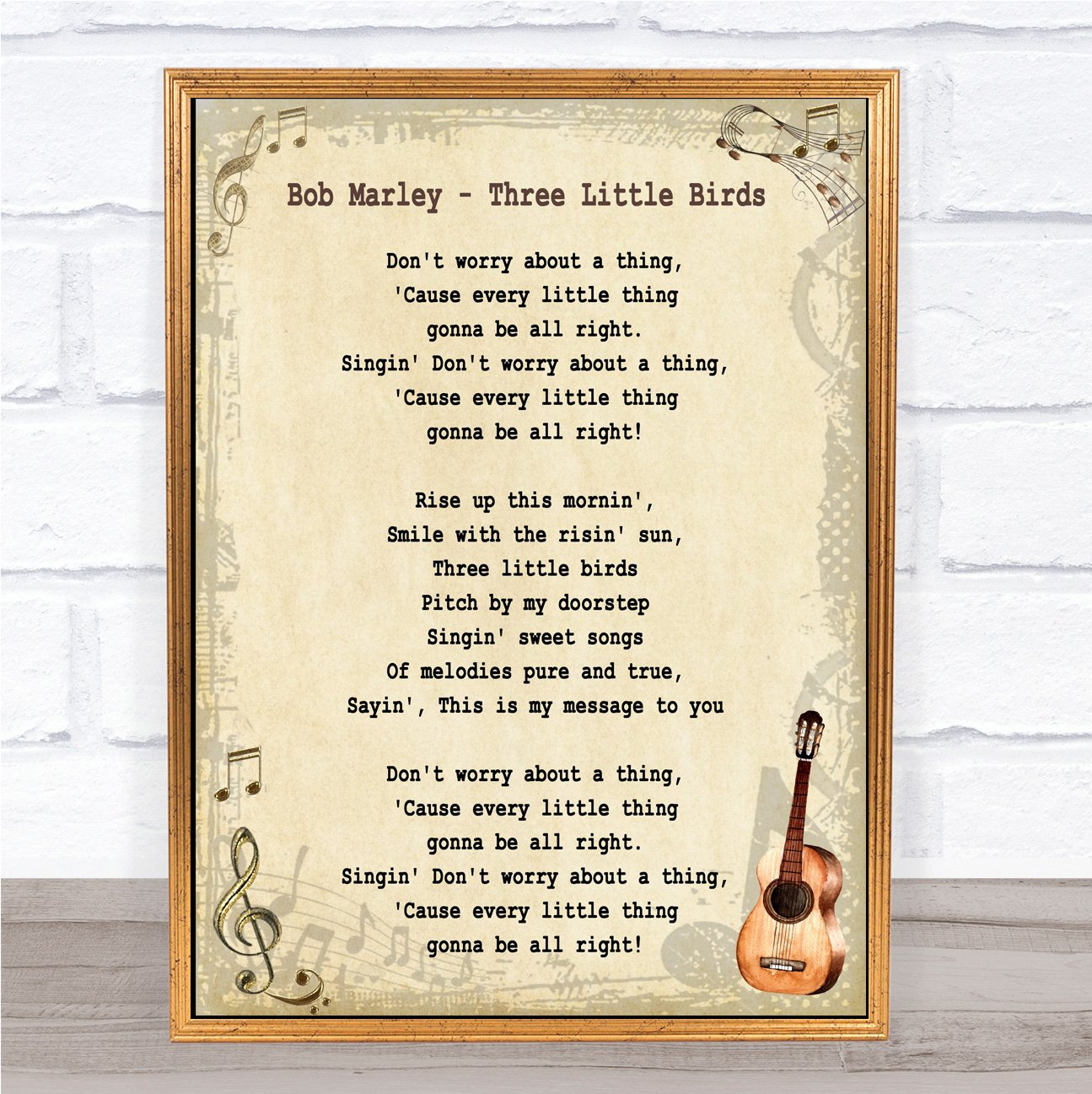 Bob Marley Three Little Birds Song Lyric Vintage Quote Wall Art Quote Gift Present Party Animal Print
