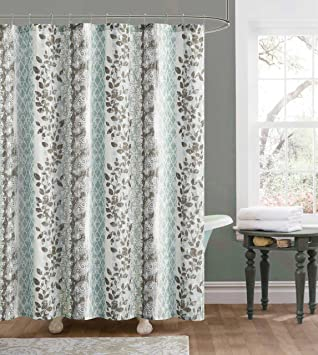 Blue And Brown Embossed Fabric Shower Curtain: Floral And Trellis Design