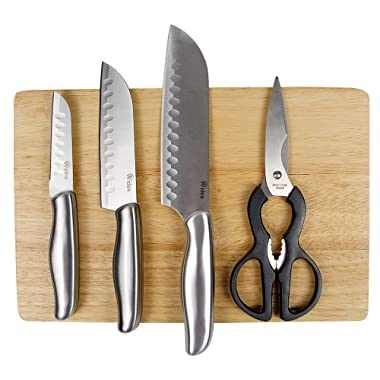 5-Piece Knife Set With Wooden Cutting Board and Scissors Shears by AIDEA