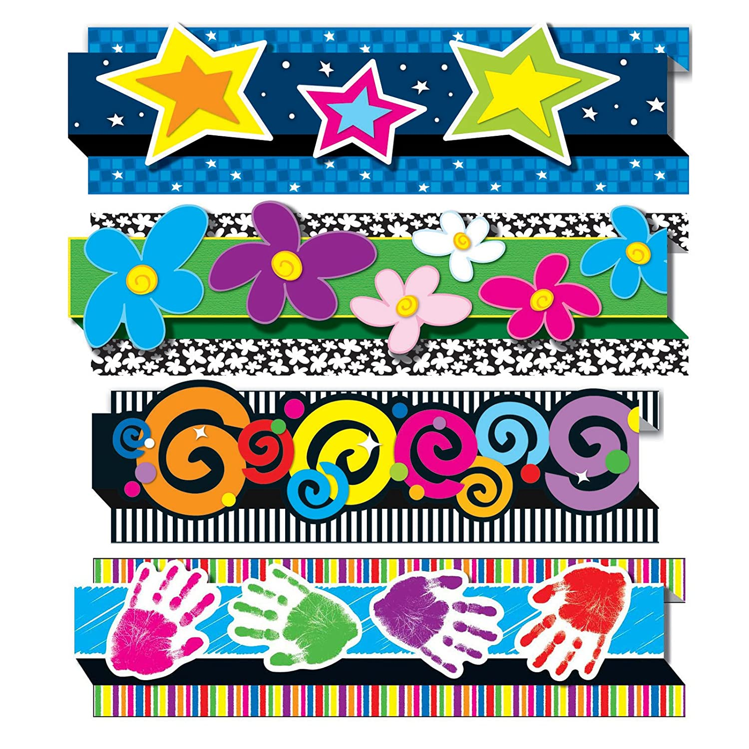 Carson-Dellosa 144031 Scalloped Borders Variety Set IV Pack of 4 Multi, 8-Pack 2-1//4 x 3 Size