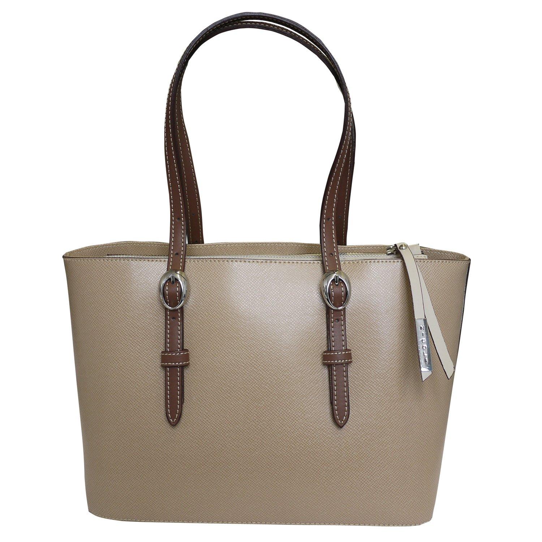 Nicoli 'Briglia' Designer Italian Leather Tote Shopper Shoulder Wedding Handbag - Tan