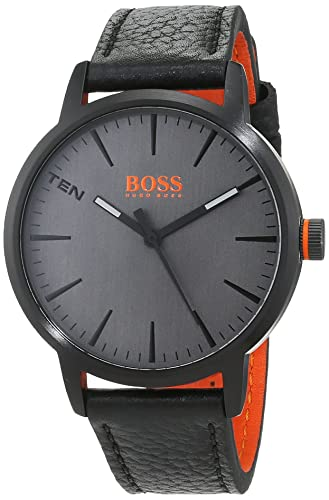 c7a120826c8 Hugo Boss Orange Mens Analogue Classic Quartz Watch with Leather Strap  1550055  Amazon.co.uk  Watches