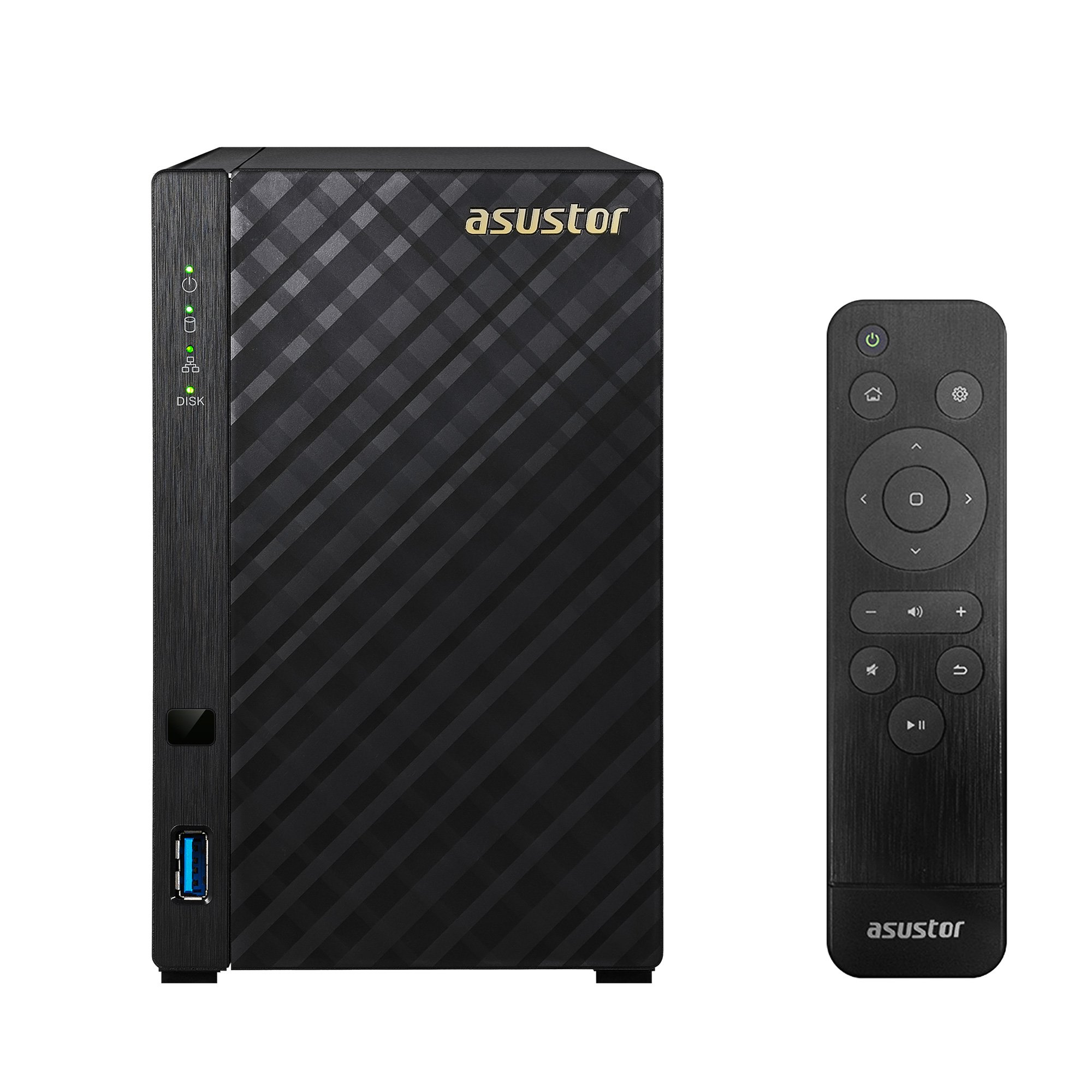 Asustor AS3202T, 2 Bay NAS (Diskless), Intel 1.6GHz Quad-Core, 2GB RAM, Includes Free AS-RC13 Multimedia Remote
