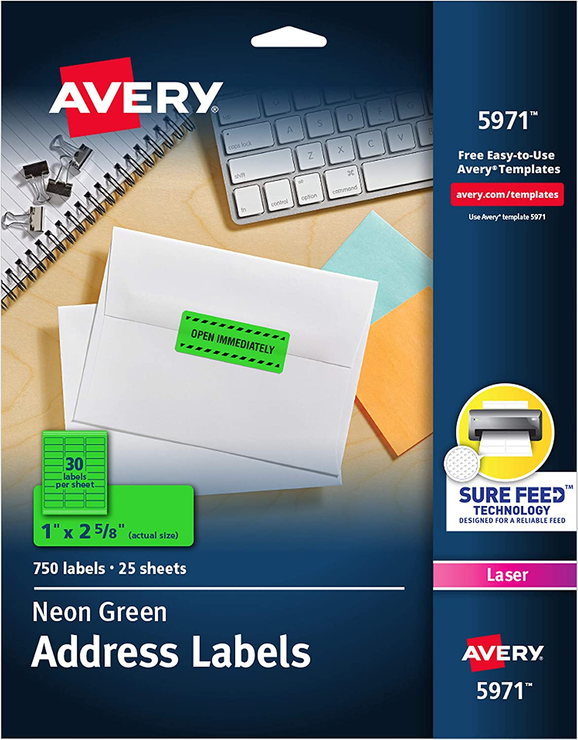 "Avery Neon Address Labels with Sure Feed for Laser Printers, 1 x 2 5/8"", 750 Green Stickers(5971)"