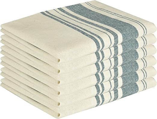 """Premium Vintage Kitchen Dish Towels with Hanging Loop /• 100/% Natural Cotton 12,Blue /• White with Blue Stripes /• /• Professional Grade Herringbone Weave /• Satisfaction Guarantee 15/""""x26"""