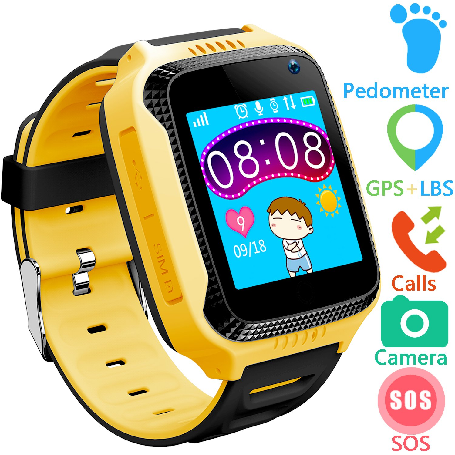 Kids Smart Watches Phone with GPS Tracker - 1.44'' Touch Scrren Wrist Phone Watch with SIM Card Slot SOS Voice Chat Games Camera Birthday Gifts for Back to School Students Boys Girls (Yellow)