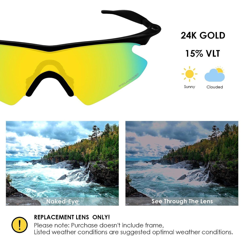 9f77e20de1 Amazon.com  BlazerBuck Anti-salt Polarized Replacement Lenses   Sock Kit  for Oakley M Frame Heater - 24K Gold  Clothing