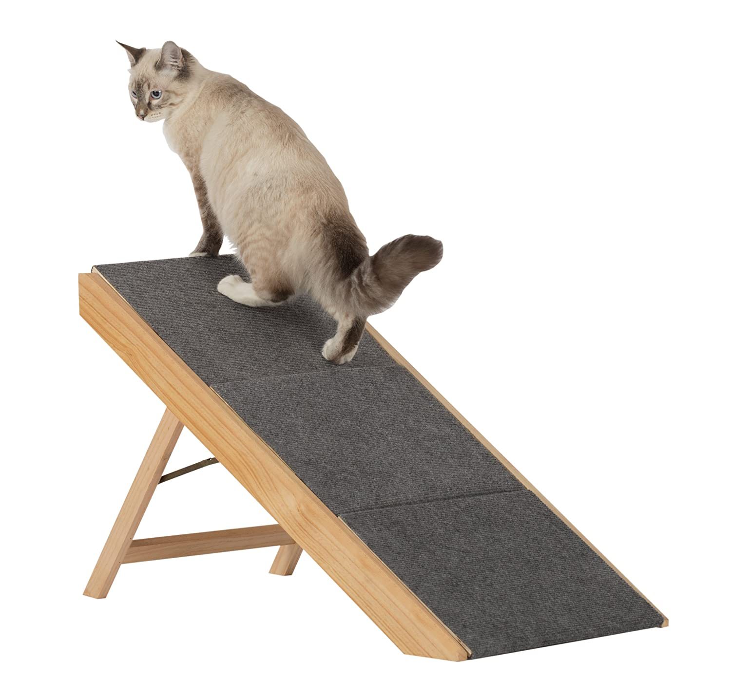 Paws & Purrs Portable Pet Stairs & Pet Ramp, Natural/Gray