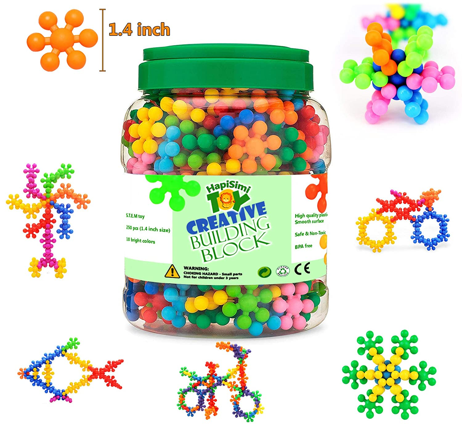 HapiSimi Snowflake Building Blocks Kids STEM Educational Toys - 250 Piece Mega Set of Plastic Interlocking Discs for Preschool, Toddler and School Boys and Girls - Creative & Development Toy   B07CGYWB1M