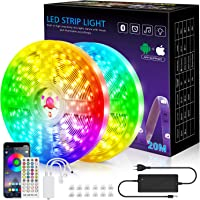 Ledstrip, 20 m licht, muzieksynchronisatie, kleurverandering, RGB-ledstrip, afstandsbediening met 40 toetsen, gevoelige…