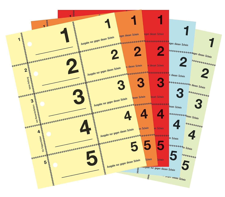 Avery Zweckform 867-5 - Numeri per guardaroba, formato A6, numeri da 1 a 500, 5 colori, confezione da 5 Avery Tico Srl