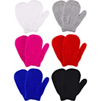 Boao 6 Pairs Stretch Mittens Winter Warm Knitted Gloves for Kids Toddler Supplies