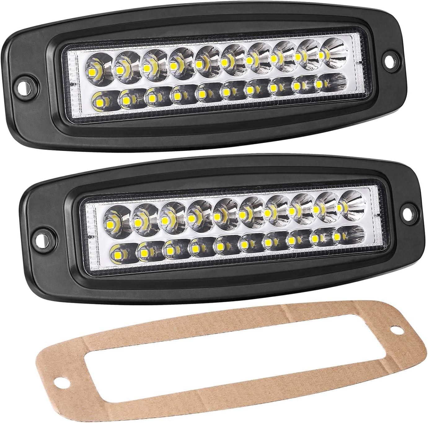 Yvoone-Auto 2pcs 5inch 84W Driving Lights LED Work Light Flush LED Light Bar Bumper Fog Lights Off Road Lights for Truck SUV Boat 4x4 Grill Mount Flush Mount Work Lights