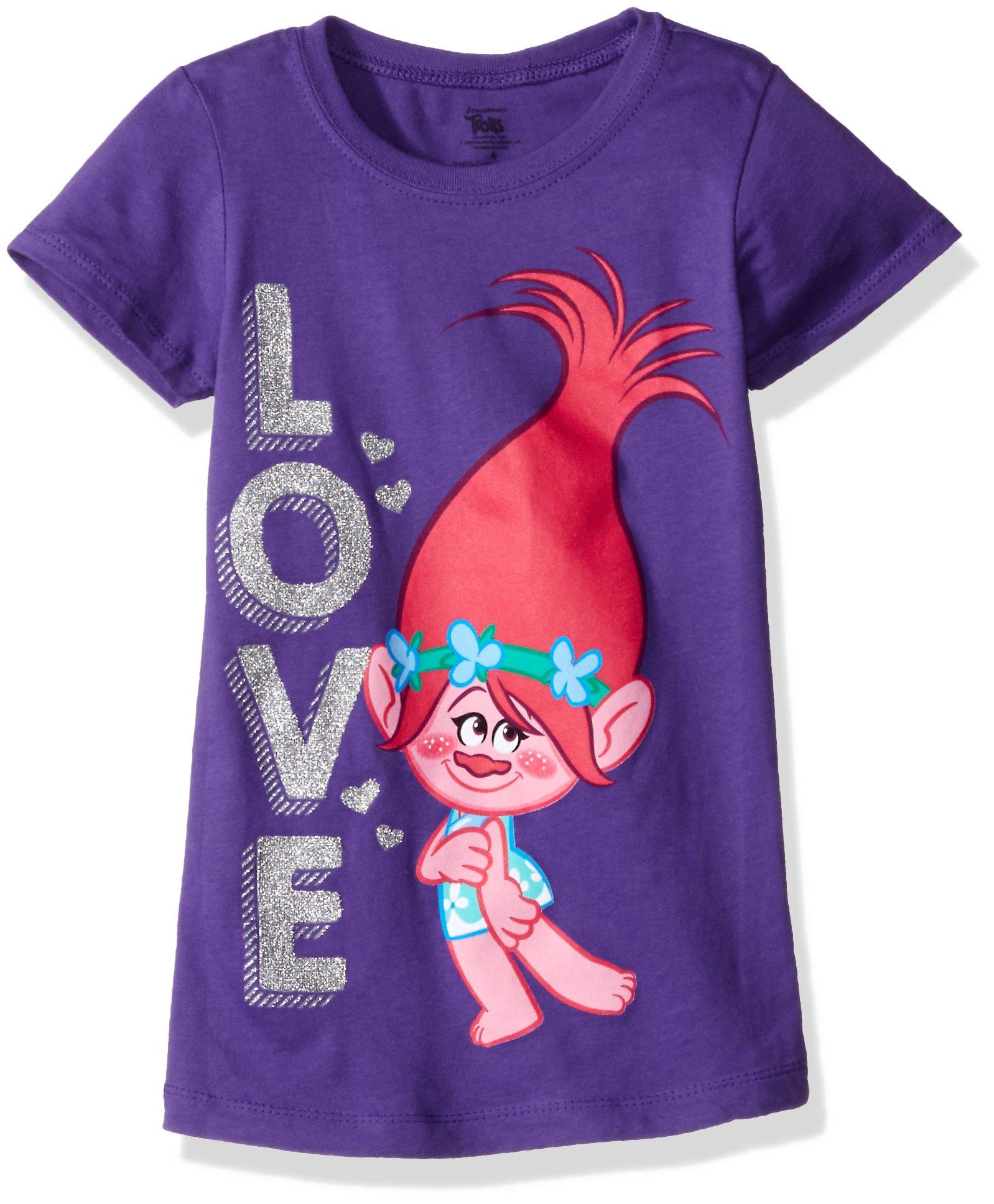 Trolls Girls' Little Girls' Love The Princess T-Shirt, Purple Rush, 4