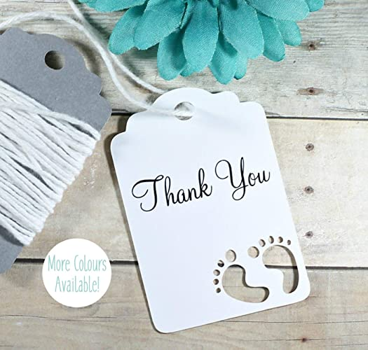 Amazon Com Gender Neutral Baby Shower Thank You Tags In White Set