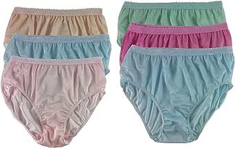 CKSL39 Lots 6 Panties for Women Pack Plus Size Briefs Panty Silky Nylon Panties High Waist Underwear Lingerie