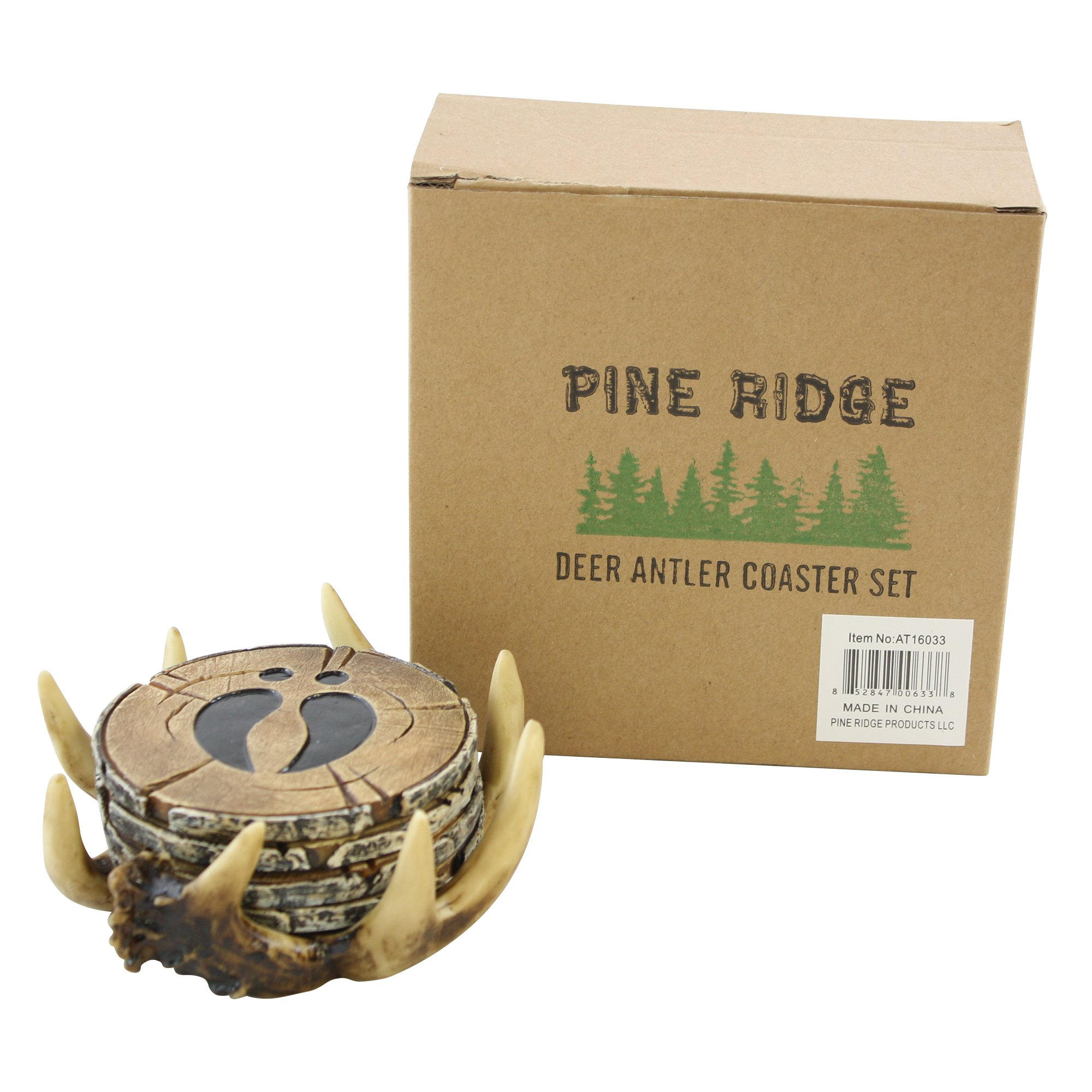 Pine Ridge Old West Deer Antler Drink Coasters Set Of 4 - Home Table Beverage Coaster With Holder - Drink Glass Holder With Outdoors Rustic Cabin Theme Decor by Pine Ridge (Image #9)