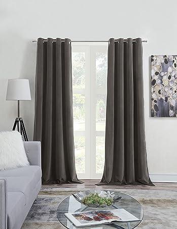 MHC Blackout Velvet Curtains Lined Panels For Bedroom   Window Treatment  Thermal Insulated Solid Grommet Velvet