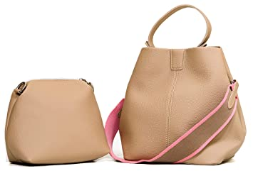 72447ff704 WHATSHOP Bucket Bags For Women - Bucket Purse Set with Makeup Pouch - Faux  Leather Bucket