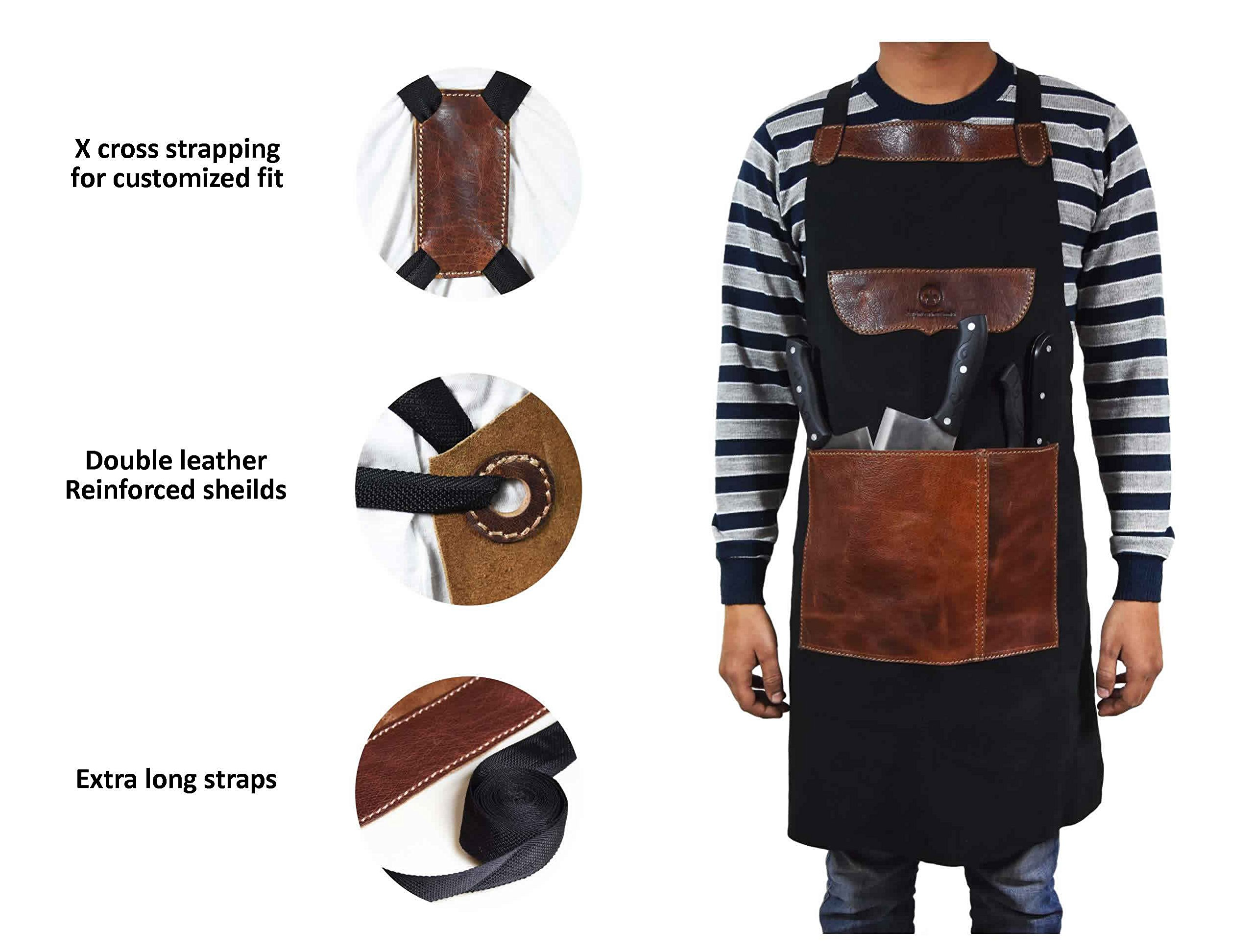 Aaron Leather One Size Fits All Leather Utility Apron | Adjustable Cross-Back Straps | Multi-Use Shop Apron With Tool Pockets By (Black)