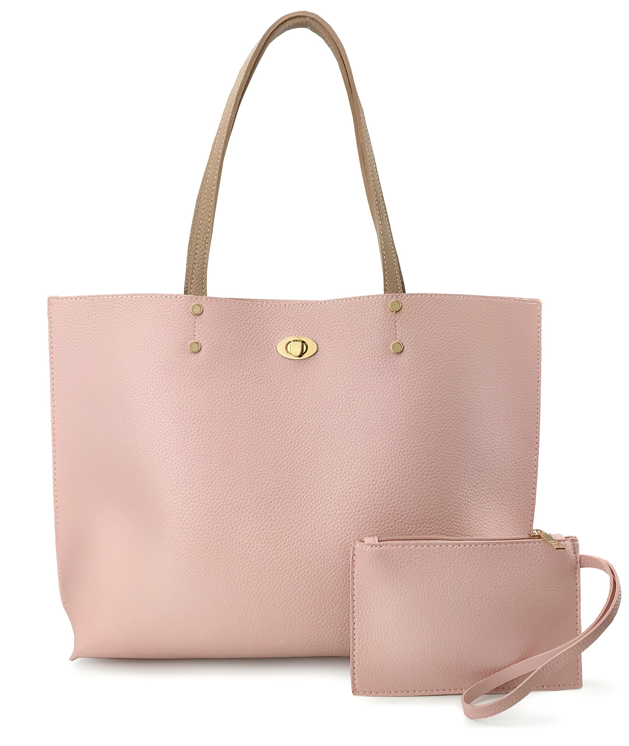 Women's Tote Color-Block Pebbled Faux Leather Shoulder Handbag With Zipper Pocuh Wristlet (Pink)