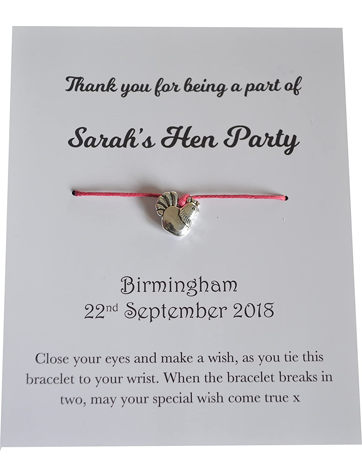 10 x Hen Party Favours. Wish Bracelets with Personalised Cards