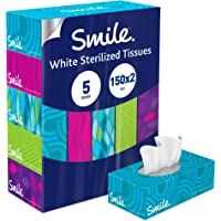 Smile Facial Tissues, 150x2 Ply White Tissues, pack of 5 boxes, 750 tissues