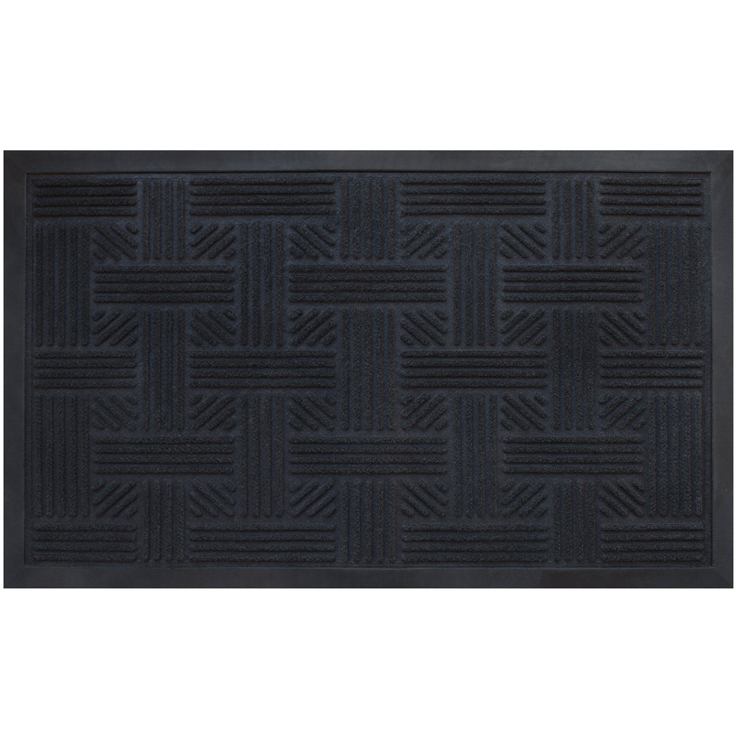 Alpine Neighbor Cross Hatch Doormat Low Profile Waterproof Outdoor Black Door Mat | Washable Cross-Hatch Outside Rubber Front Entrance Floor Shoes Rug | Garage Entry Carpet Decor for House Patio
