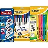 BIC Spécial Rentrée des Classes Cristal/Briteliner/TIPP-EX Mini Pocket Mouse Pack d'écriture de 10 Stylos-billes/5 Surligneurs Couleurs Assorties avec 2 Rubans Correcteurs