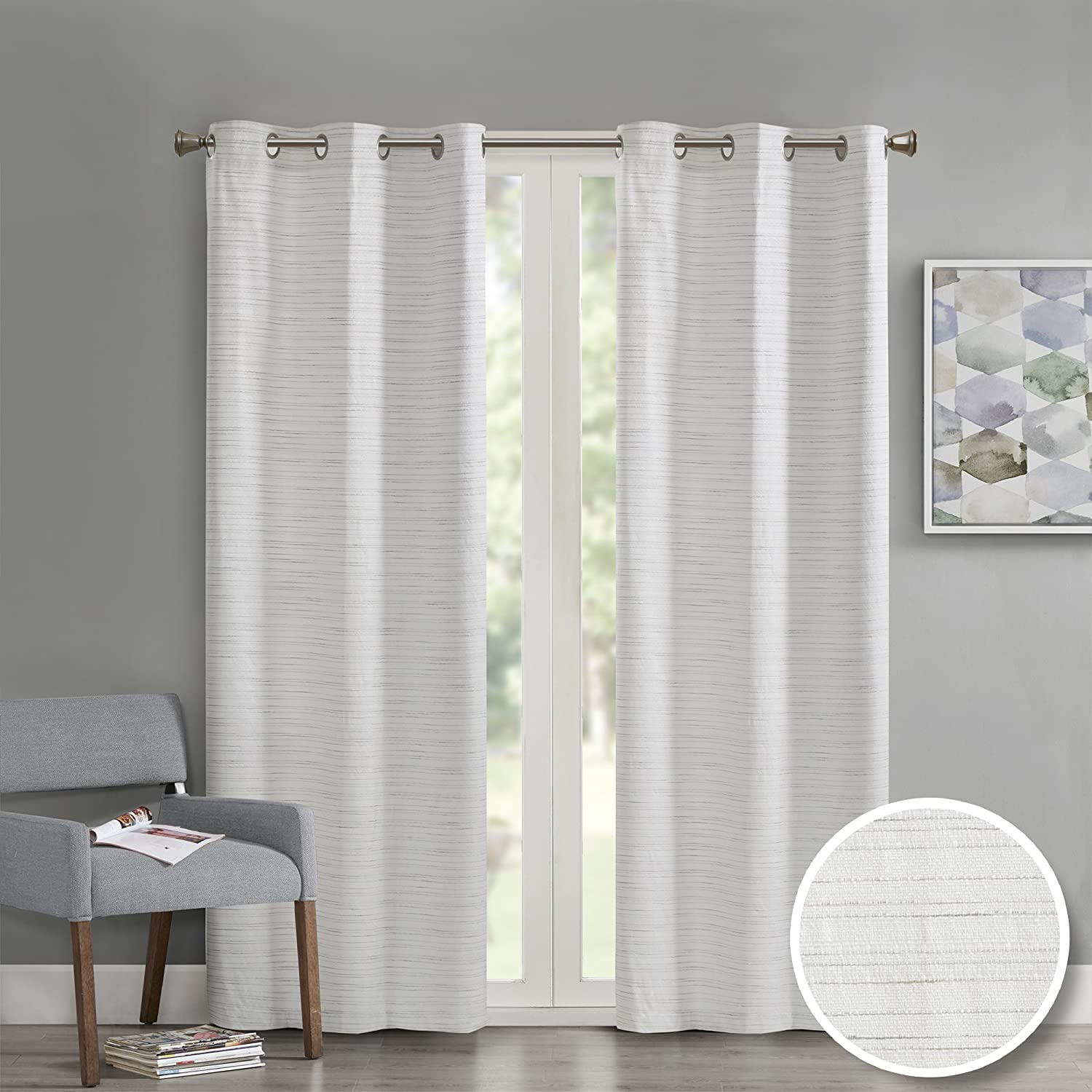 Comfort Spaces - Grasscloth Window Curtain Pair/Set of 2 Panels - Gray - 40x63 inch Panel - Foamback - Energy Efficient Saving- Grommet Top - 2 Pieces