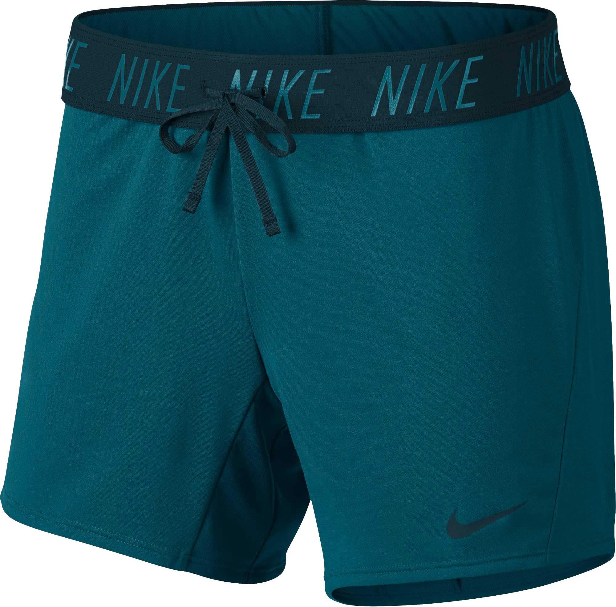 NIKE Women's 5'' Dri-FIT Attack Training Shorts,(Geode Teal/Midnight Spruc,X-Small)