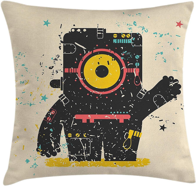 Funda de cojín Almohada Una máquina alienígena de Robots como una Criatura Que Saluda Saludo con Estrellas Imagen de Arte,Pillowcase 45x45 cm: Amazon.es: Hogar
