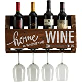 The Little Elm Wine Rack w/Quote 'Home is Where the Wine is', del Hutson Designs - USA Handmade Reclaimed Wood, Wall Mounted, 4 Bottle 4 Long Stem Glass Holder (Walnut)