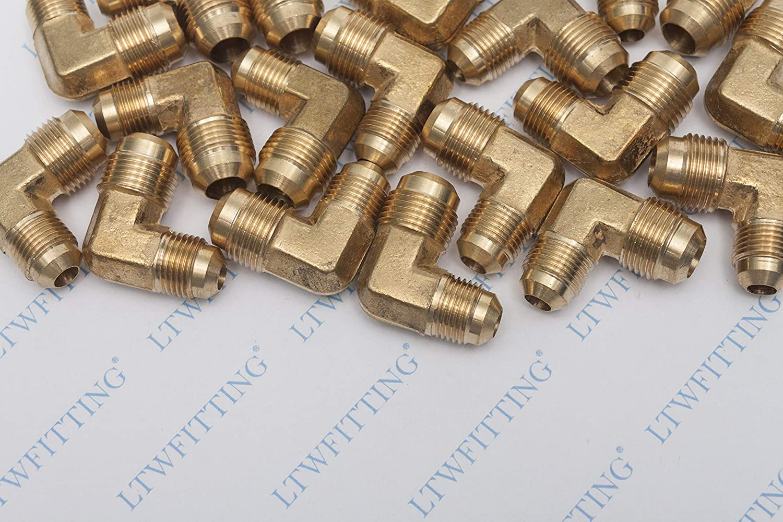 5 piezas Sin Marca 1//2 OD x 3//8 OD Uni/ón de SAE 45/° flare de 90/° codo de diferentes di/ámetros accesorio de conexi/ón de lat/ón de flare