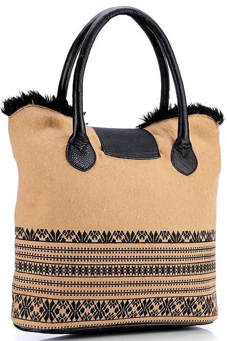 Damen Echtleder Handtasche Shopper Schwarz PR581 Phive Rivers YLzOxy