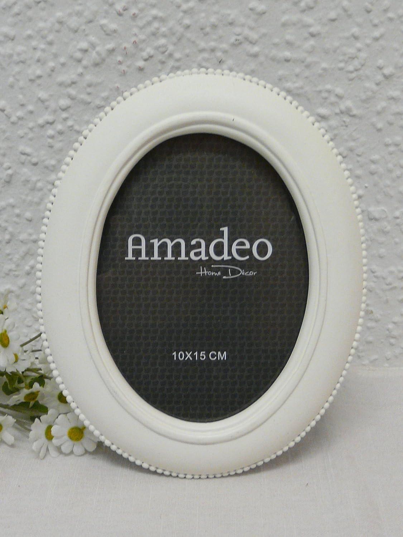 Bilderrahmen Antik- Design weiß oval 10x15: Amazon.de: Küche & Haushalt