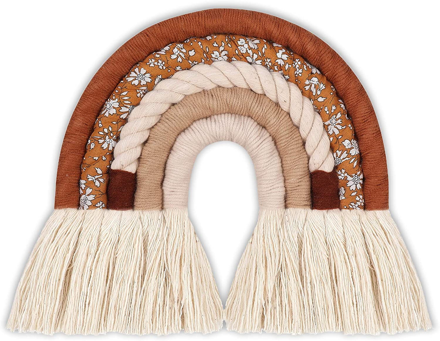 JILPAK Macrame Rainbow Wall Hanging Neutral, Nordic Woven Rainbow Wall Hanging, Rainbow Boho Decor for Wall Room Home Nursery Baby Room, Brown Figured Cloth, 7.5 x 7.9 inches
