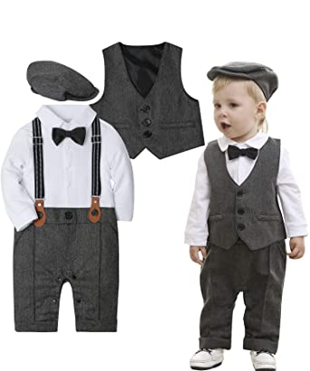 66d7d1e15e77 ZOEREA Baby Boy Outfits Set, 3pcs Long Sleeves Gentleman Jumpsuit & Vest  Coat & Berets
