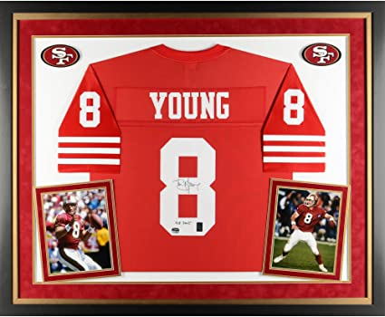 dbaa1e29f Steve Young San Francisco 49ers Deluxe Framed Autographed Red Proline Jersey  with HOF 2005 Inscription -
