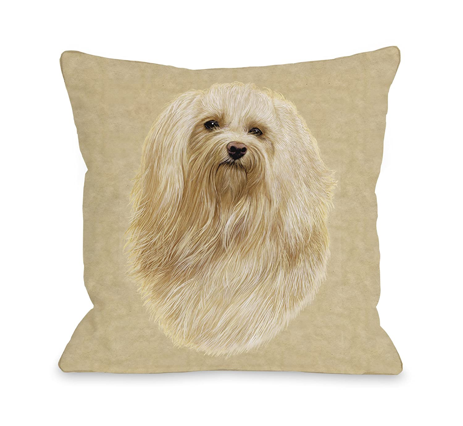 One Bella Casa Havanese Pillow 18 by 18-inch