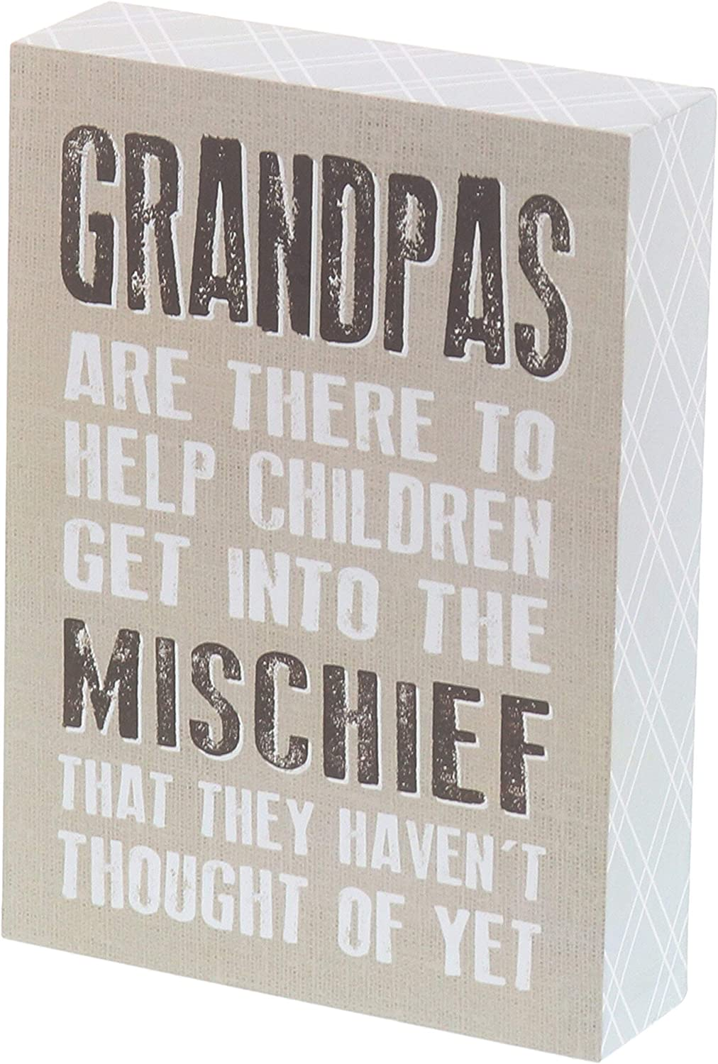 """Barnyard Designs Grandpas are There to Help Children Get Into Mischief Box Sign Decorative Wood Wall Decor Grandpa Gifts 7"""" x 5"""""""