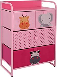 My Luna Home Kids Dresser with 4 Drawers – Nursery Storage & Organizer Furniture for Children, Toddler, Baby– Heavy Duty, Soft & Easy Pull Fabric Bins for Toys, Clothes, Playroom & Bedroom - Pink