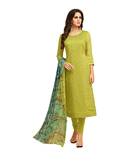 39420053b3 Women's Unstitched Cotton blend Salwar Suit Dupatta Material - Pear Green:  Amazon.in: Clothing & Accessories