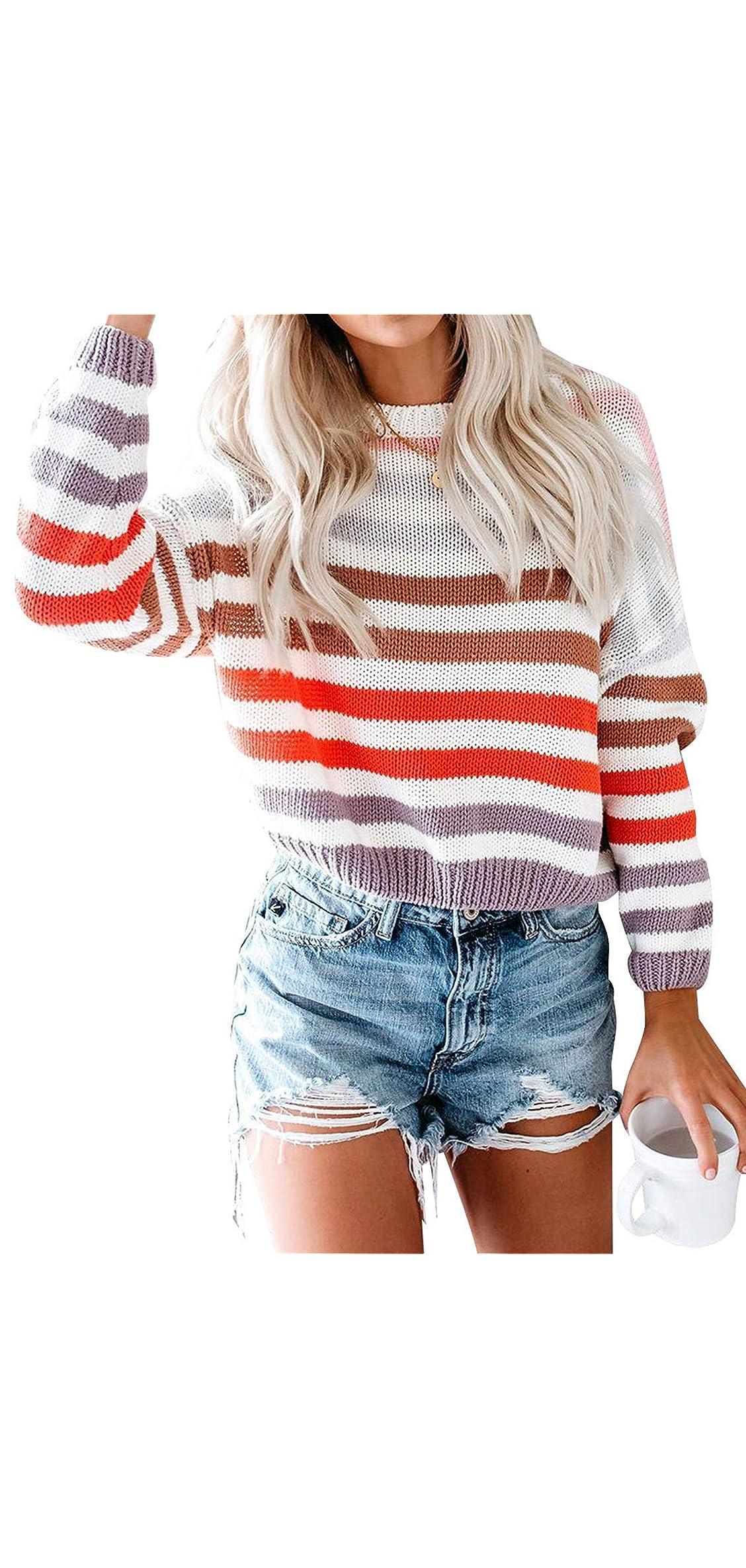 Women's Color Block Sweater Oversized Striped Crew Neck