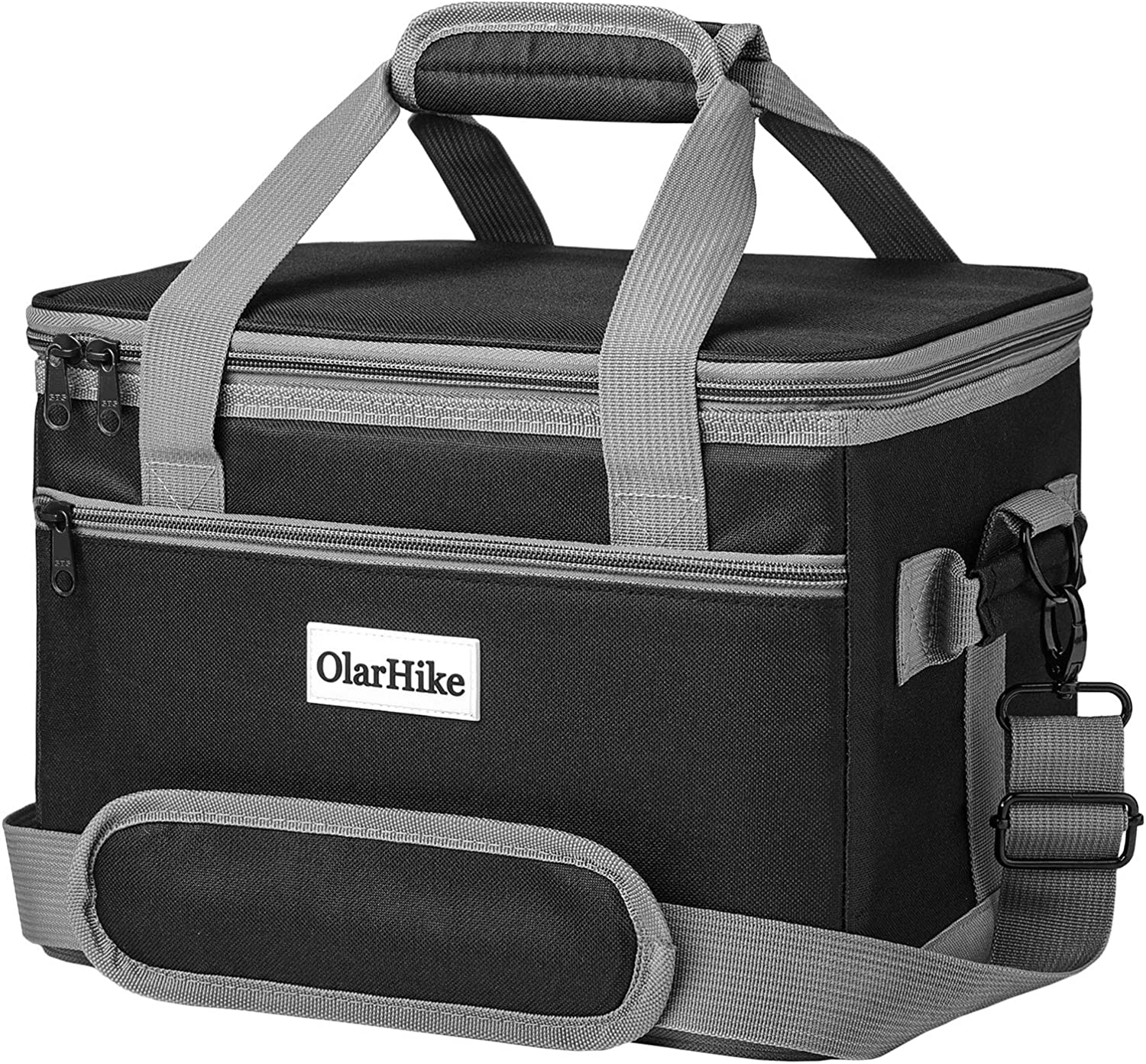 OlarHike Cooler Bag Lunch Bag, Collapsible and Insulated Lunch Box Leakproof Cooler Bag for Camping, Picnic, BBQ (24-Can, Black)